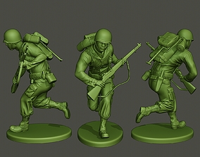 American soldier ww2 running A5 3D print model