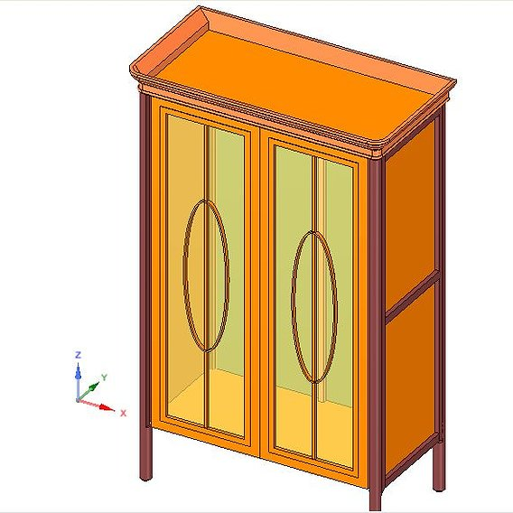 Wardrobe with glass doors made of mahogany