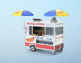 3D model low-poly Food Cart