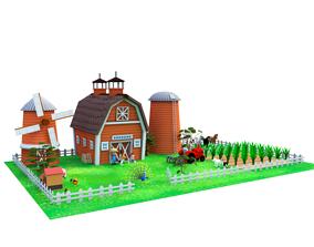 3D asset Cartoon Farm Package 16 Animals and World