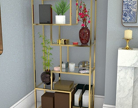 3D model shelving unit gold and glass