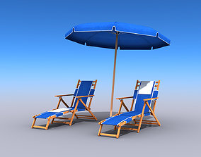3D model Beach Chairs With Umbrella