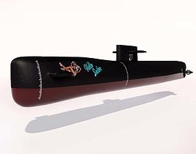 Submarine 3D model game-ready