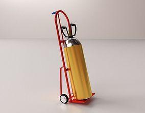 Gas Cylinder on Handtruck 3D model