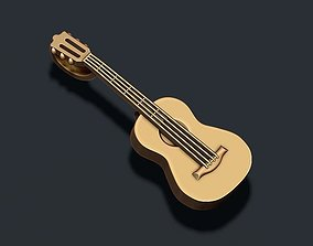 3D print model music Guitar pendant