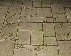 3D ground stone grass tile 06