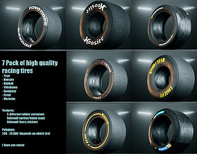 3D asset game-ready Racing Slick Tires - 7 pack