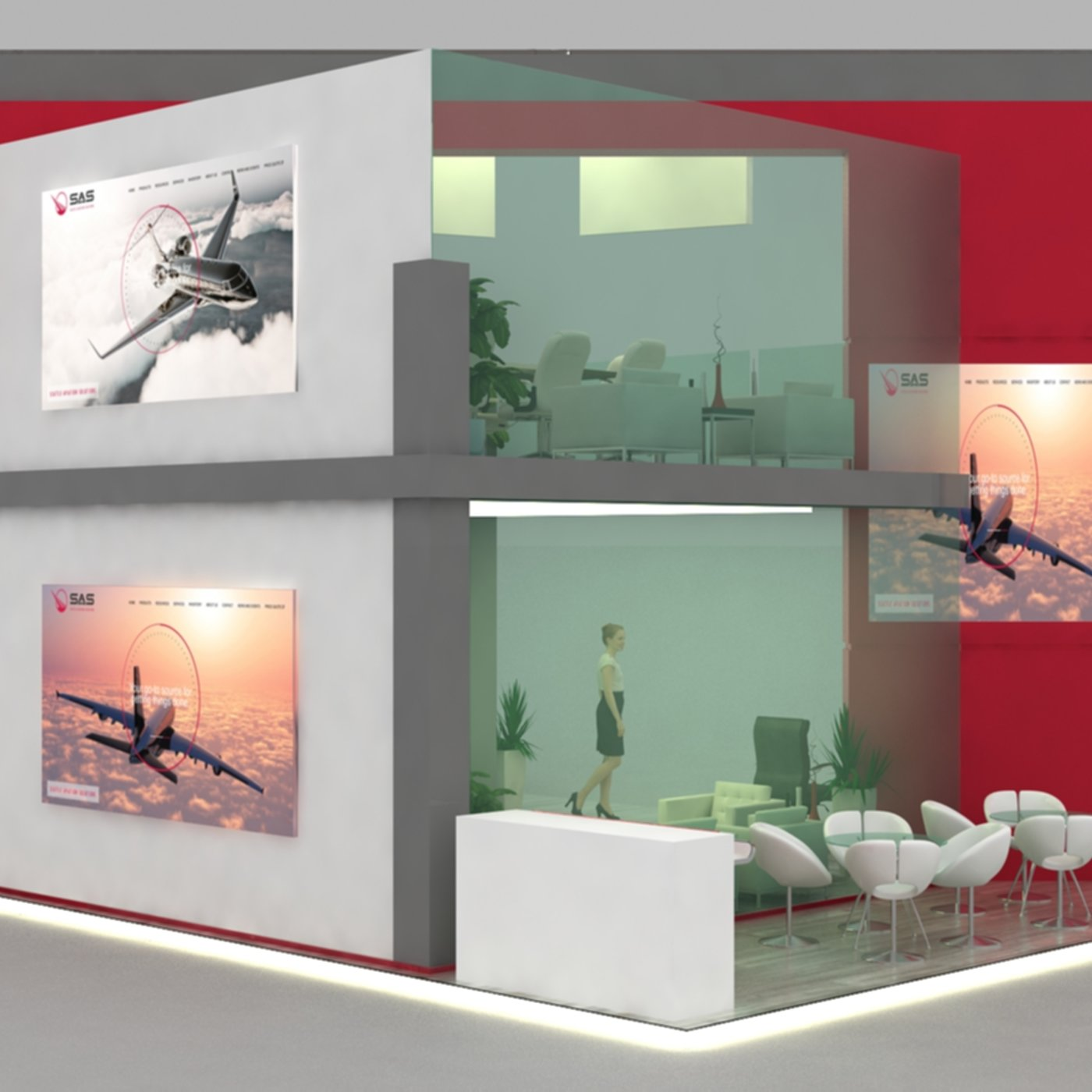 Exhibition Stand 10 x 7 x 6 meter Low-poly 3D model