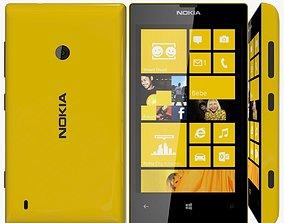 Yellow Nokia Lumia 520 3D Model