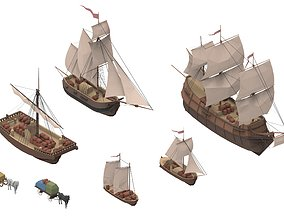 3D asset sailboats set