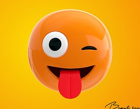 3D model Emoji Winking face with a Tongue