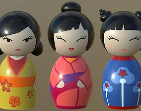 3D model Kokeshi Japanese doll 3