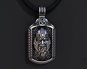 3D printable model silver pendant God Odin
