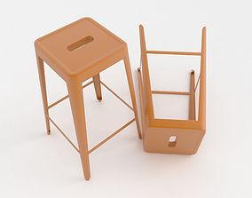 3D Orange metal bar stool