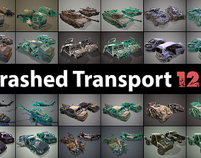 3D asset low-poly Pack of wrecked cars