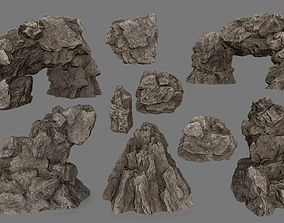 3D asset VR / AR ready moss cliff desert rock