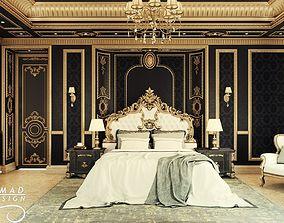 3D model Royal Black and Gold Interior Master Bedroom
