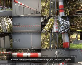 3D model Railroad Barrier 9m with Protective Grid High and