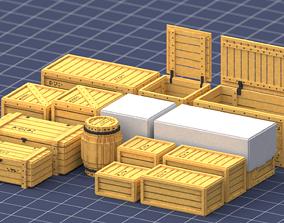 Set of wood boxes 3D model