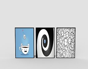 Picture frames easel 3D asset game-ready