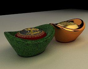 3D model Chinese Gold Ingot gold
