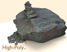 Scanned Sharp Dark Marking-Stone 3D model