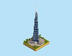 3D model Cartoon Lowpoly Burj Khalifa Dubai Landmark
