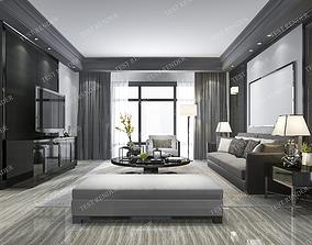 black modern living room with tv 3D