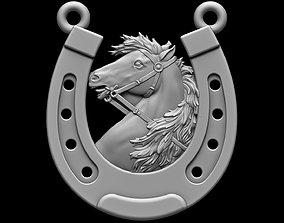 3D printable model gold Horse pendant