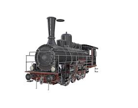 3D asset low-poly train locomotive