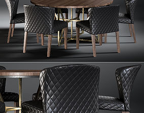 Dining Table Hayes Acacia And Chair Curran 3D