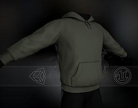 3D asset realtime Green Winter Hoodie