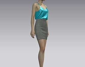 Woman tank and skirt 3D asset