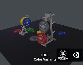 Bumper plates and racks - PBR 3D asset