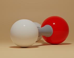 Water Molecular H2O 3D model realtime