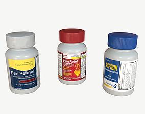 Pain Reliever Aspirin Pill Box 3D asset low-poly