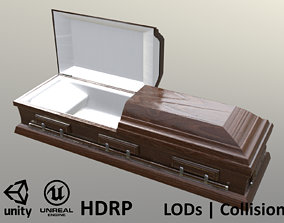 3D model Casket Beech Wood- Unity - HDRP - UE4