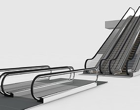 3D model Escalator and Moving Walkway Rigged