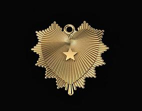 3D print model hear shine with star pendant