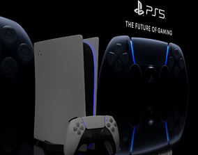 PS5 controller and console 3D model
