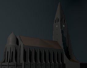3D asset realtime Neogothic cathedral Hallgrimskirkja