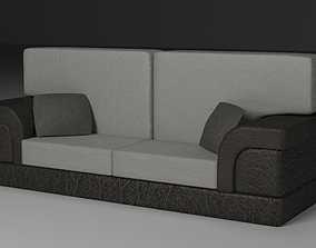 Leather Sofa with Fabric Pillows 3D asset