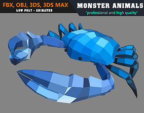 3D model Low Poly Crab Cartoon 2 Animated - Game Ready