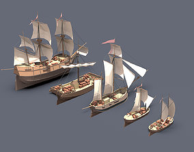 3D asset set sailboats
