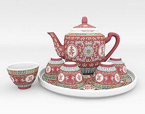 Chinese Porcelain Wan Shou Tea Set 3D