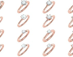 3D model 135 solo diamond solitaire wedding engagement 2
