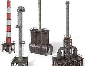 3D model Industrial pipes of a chemical plant