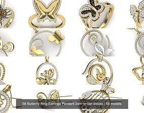 58 Butterfly Ring Earrings Pendant 3dm render details