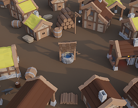 Low Poly Medieval Town Houses 3D asset