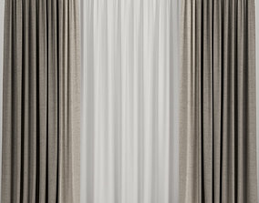 3D model Brown curtains